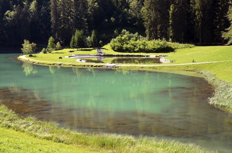法国湖montriond 免版税库存照片