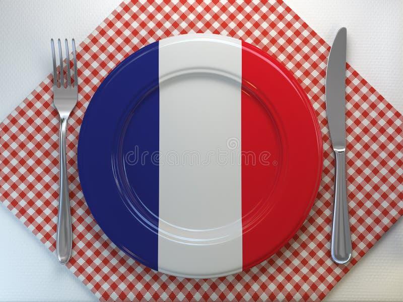 法国烹调或rfrench estaurant概念 有法国的旗子的板材有刀子和叉子的 库存例证