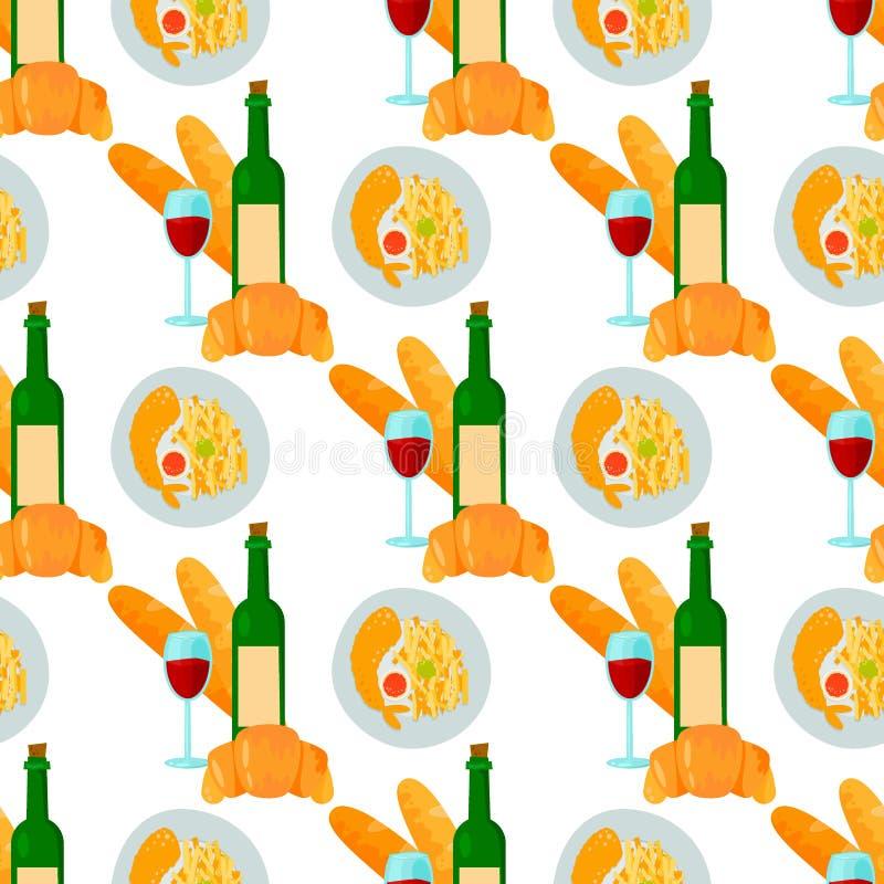 法国烹调新月形面包酒杯无缝的样式背景鲜美食物和烹调晚餐食物可口元素 库存例证