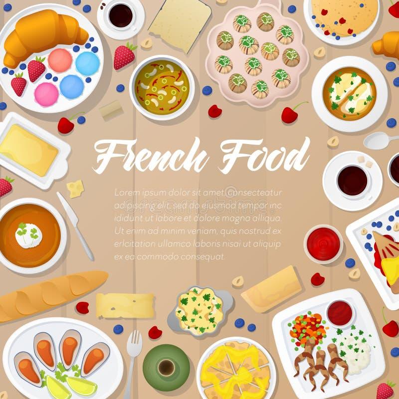 法国烹调菜单模板用汤、面包店和乳酪 传统食物法国 向量例证