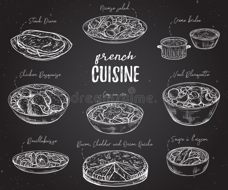 法国烹调 可口食物的汇集在黑板的 库存例证