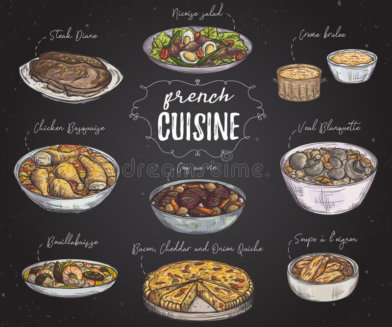 法国烹调 可口食物的汇集在黑板的 向量例证