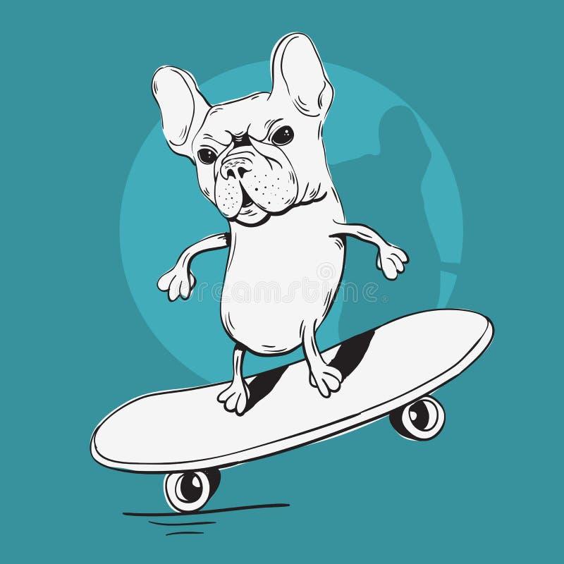 法国牛头犬做与滑板动画片概略例证的平衡 库存例证