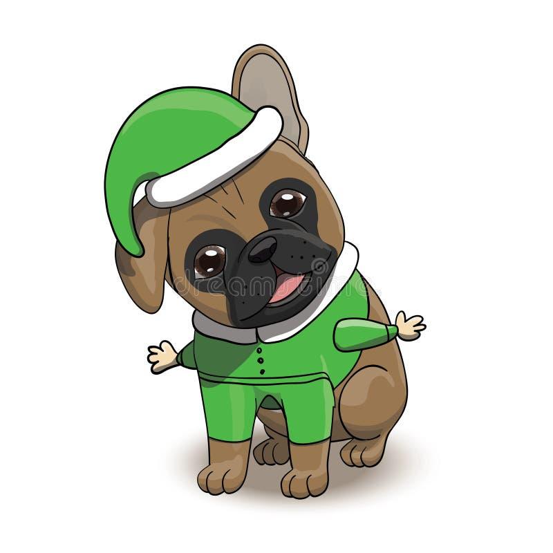 法国牛头犬动画片小狗字符在圣诞老人` s矮子服装穿戴了 皇族释放例证