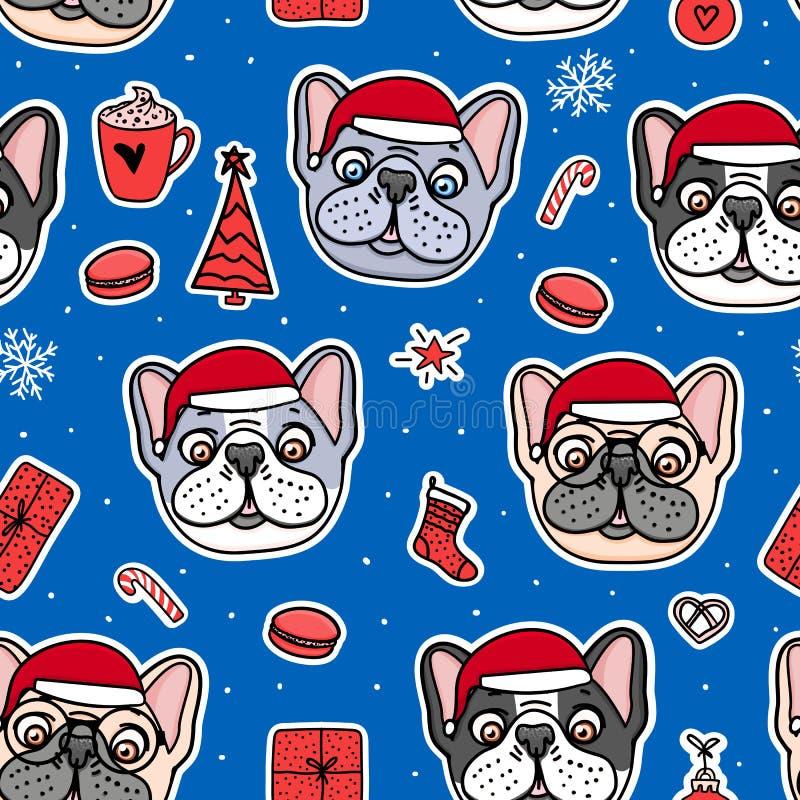 法国牛头犬小狗手拉的字符 在圣诞节红色帽子的无缝的样式狗 传染媒介例证假日 向量例证