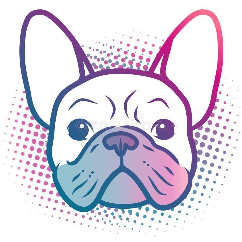 法国牛头犬小狗面孔流行艺术样式在明亮的霓虹彩虹颜色的画象例证,有半音小点背景, 向量例证
