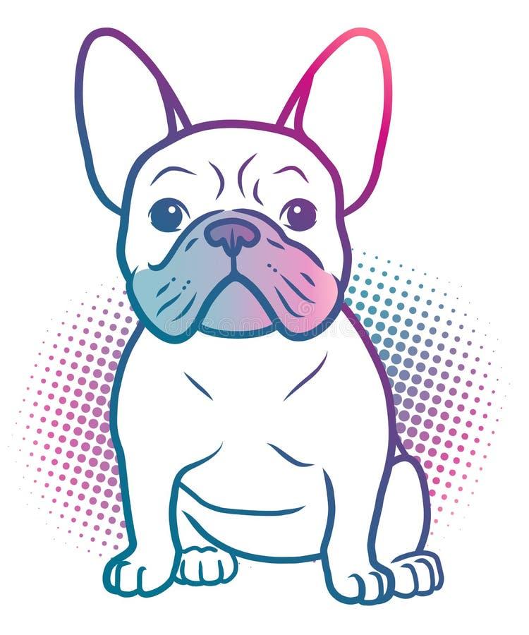 法国牛头犬流行艺术在明亮的霓虹彩虹颜色的样式例证,当半音小点背景,被隔绝在白色 狗, 库存例证