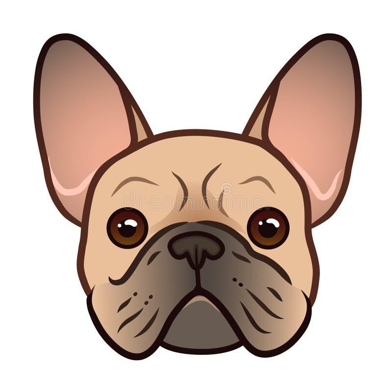 法国牛头犬面孔传染媒介动画片例证 逗人喜爱的友好的肥胖胖的小鹿牛头犬小狗面孔 宠物,狗恋人,主题的动物 库存例证