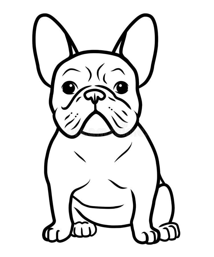 法国牛头犬黑白手拉的动画片画象传染媒介例证 看滑稽的法国牛头犬的小狗坐和 皇族释放例证