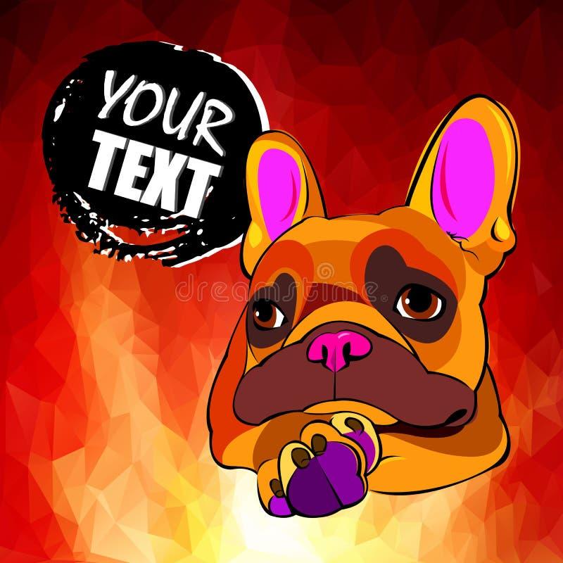 法国牛头犬 卡片或海报的传染媒介例证 在衣裳的印刷品 逗人喜爱的小狗 家谱狗 向量例证
