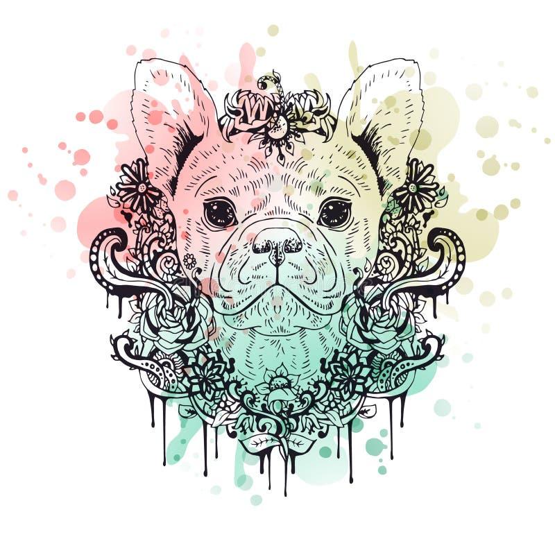 法国牛头犬图表狗,抽象传染媒介例证 皇族释放例证
