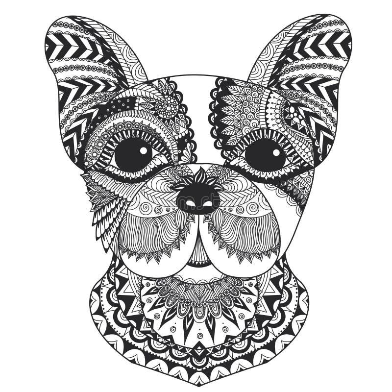 法国牛头犬彩图的线艺术设计成人、T恤杉设计和其他装饰的 皇族释放例证