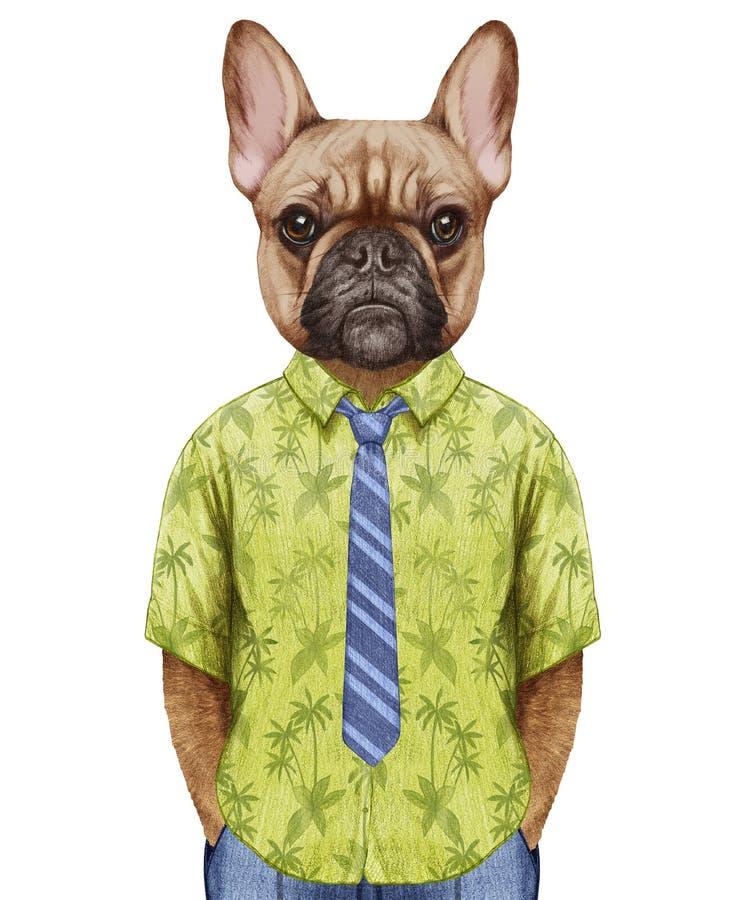 法国牛头犬画象在一件夏天衬衣的有领带的 向量例证