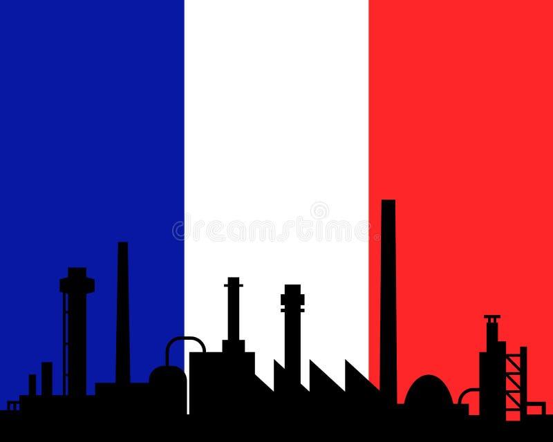 法国的产业和旗子 库存例证