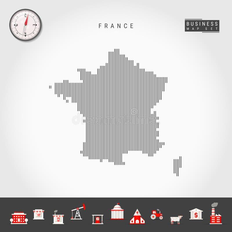 法国的传染媒介垂直线地图 法国的镶边剪影 现实指南针 r 库存例证