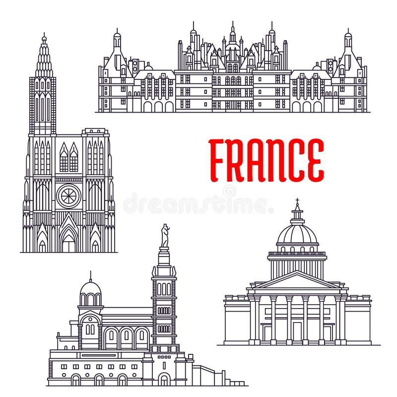 法国的历史建筑和sightseeings 向量例证