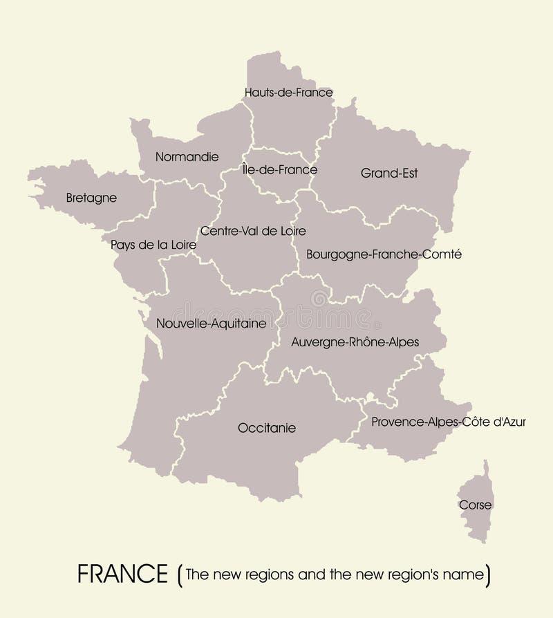 法国的地图有新的地区的 库存例证