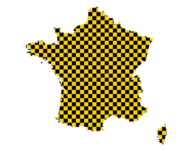 法国的地图棋盘样式的 向量例证