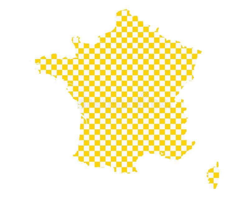 法国的地图棋盘样式的 库存例证