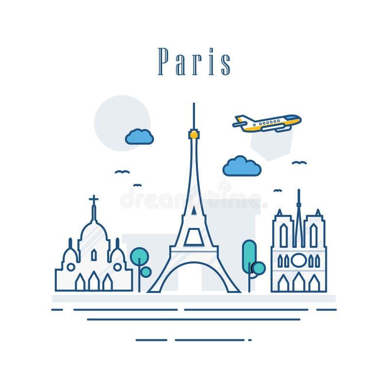 法国的巴黎  著名大厦线艺术  现代都市风景地标横幅名胜地构成 假日旅行和 皇族释放例证