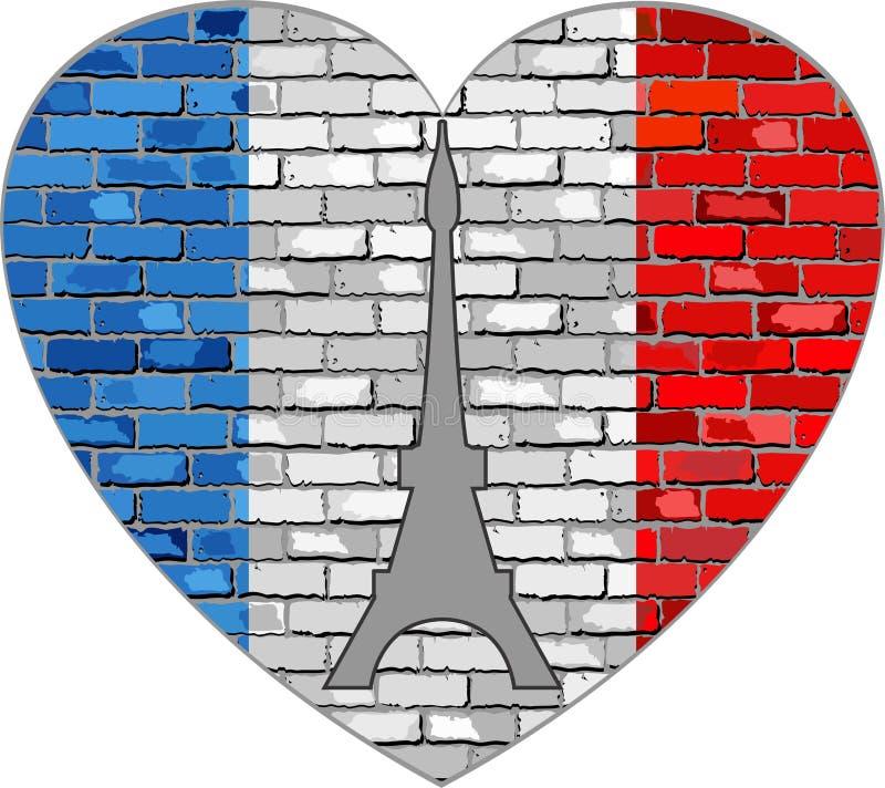 法国的旗子在一个砖墙上的在心脏形状 皇族释放例证