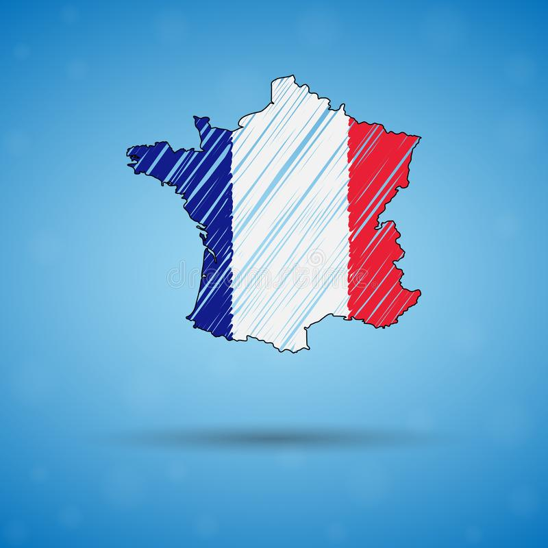 法国的杂文地图 剪影infographic的国家地图,小册子和介绍,法国的风格化略图 皇族释放例证