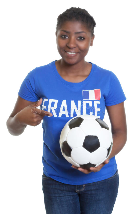 从法国的母足球迷有球的 免版税库存图片