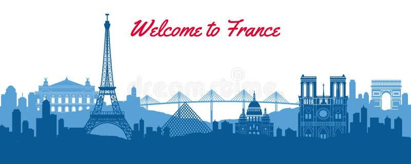 法国的著名地标,与剪影经典设计的旅行目的地 向量例证