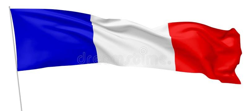 法国的长的国旗有旗杆的 向量例证