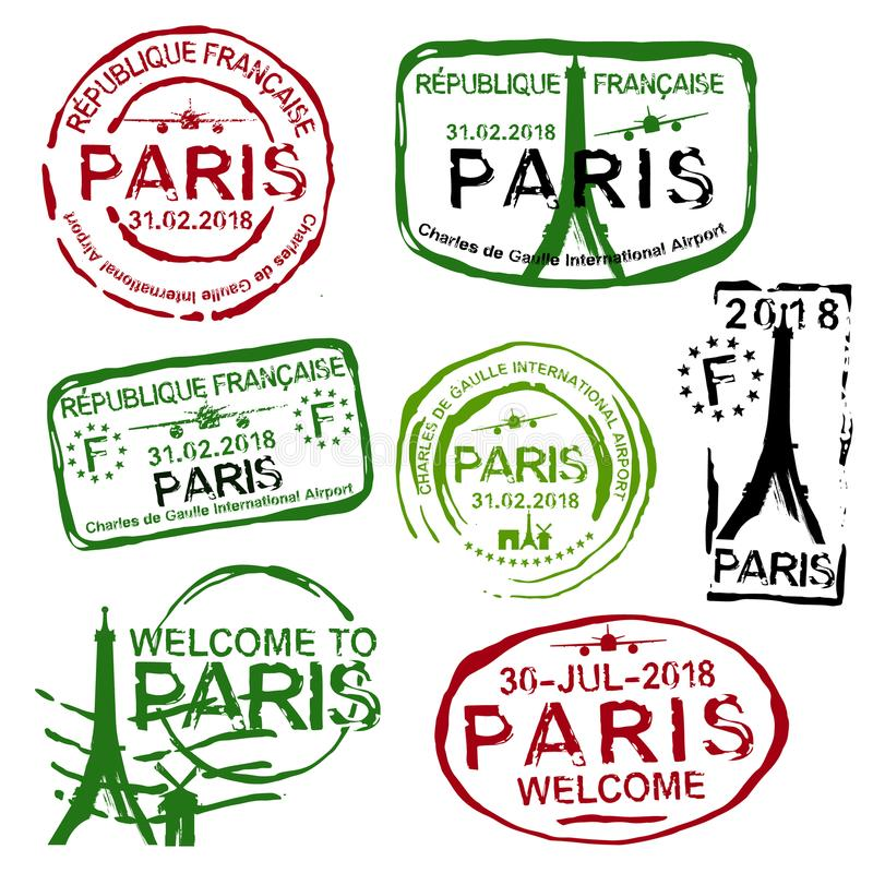 法国签证图章 向量例证