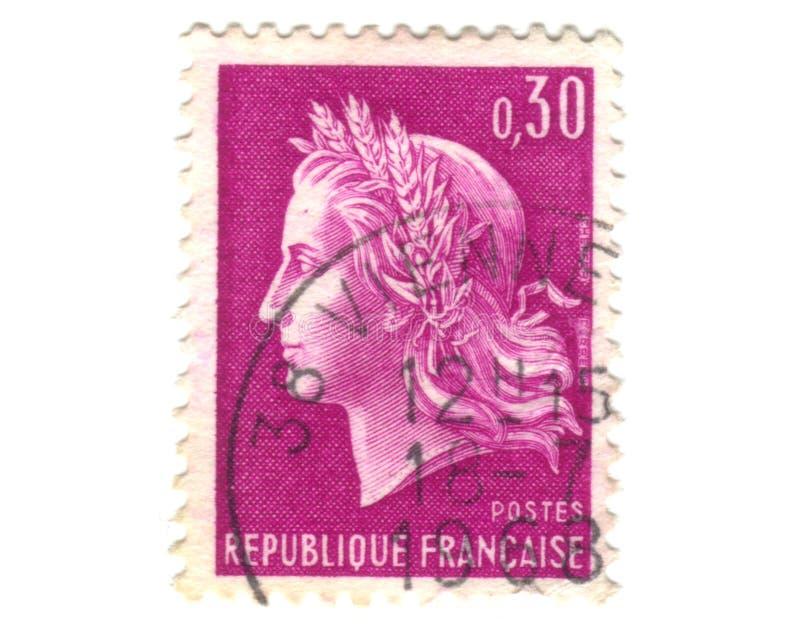 法国老紫色印花税 免版税库存图片