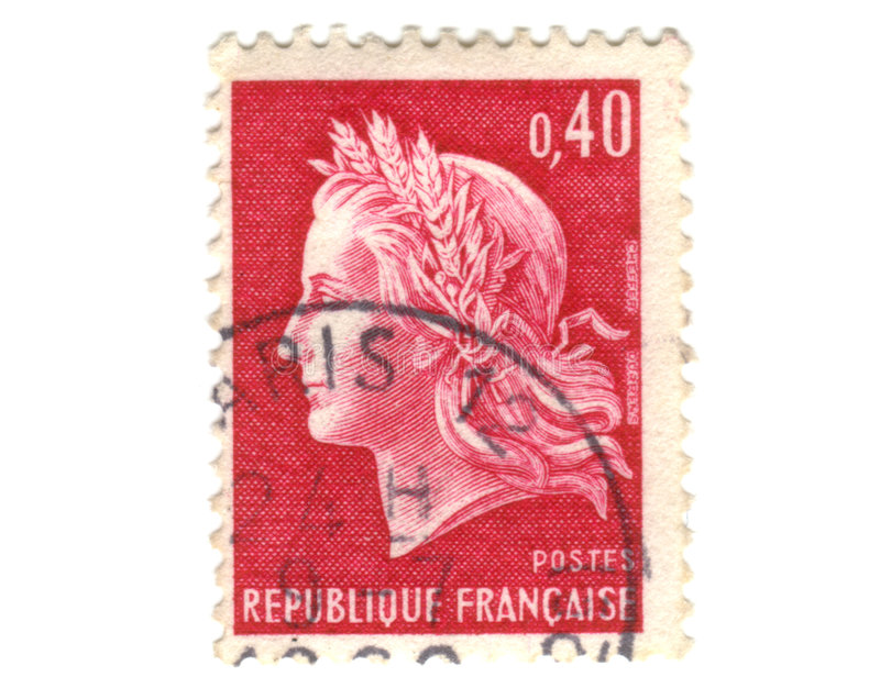 法国老红色印花税 免版税库存照片