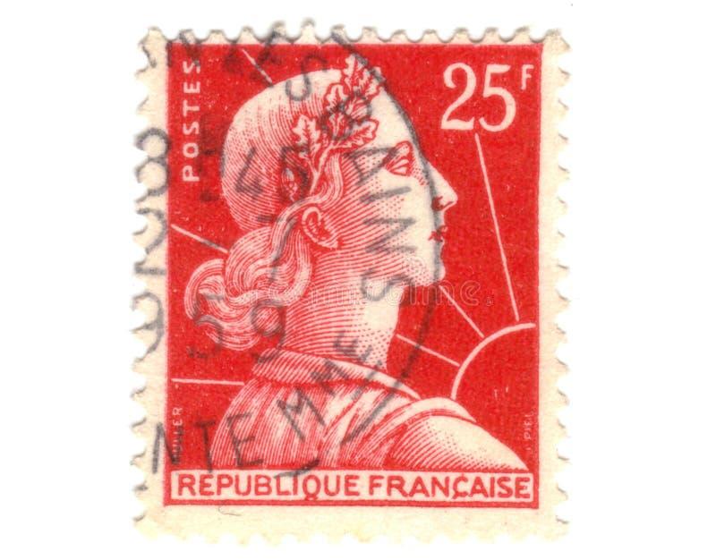 法国老红色印花税 库存照片