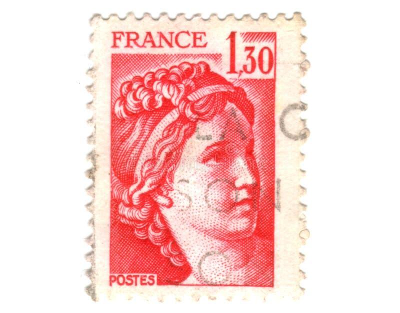 法国老红色印花税 库存图片