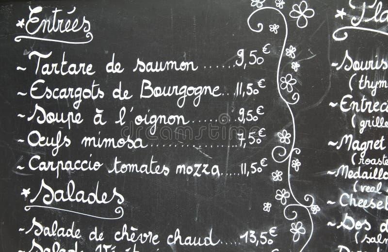 法国菜单餐馆 免版税库存图片