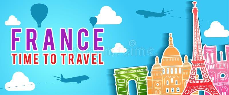 法国著名地标剪影五颜六色的样式、飞机和气球飞行横幅与云彩 库存例证