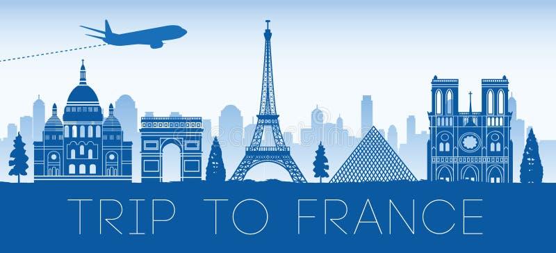 法国著名地标蓝色剪影设计 皇族释放例证
