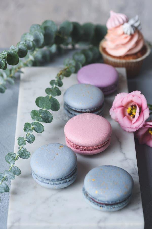 法国蛋白杏仁饼干和杯形蛋糕与花在大理石背景 免版税库存照片