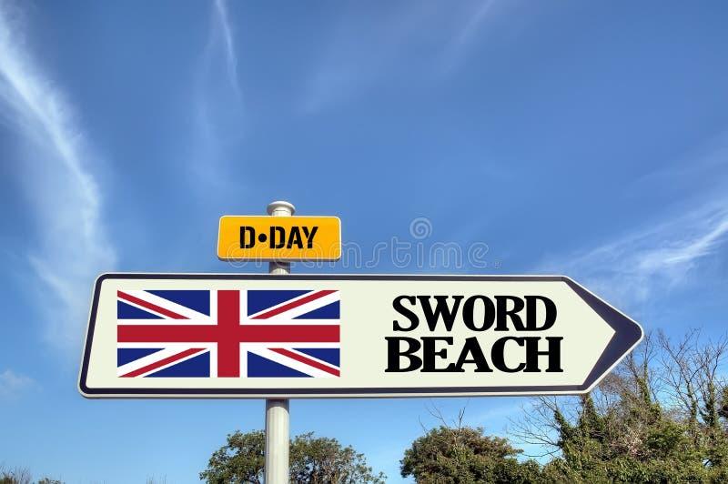 法国诺曼底剑海滩标志 免版税库存图片