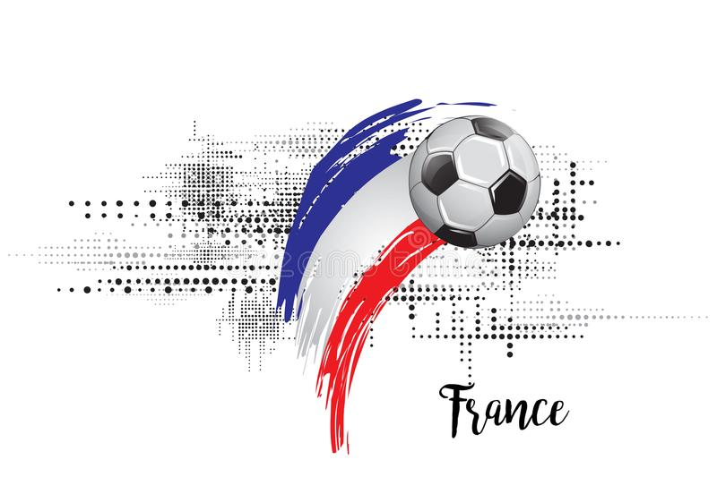 法国足球国家旗子 橄榄球队模板例证 被绘的艺术和小点难看的东西背景 向量例证
