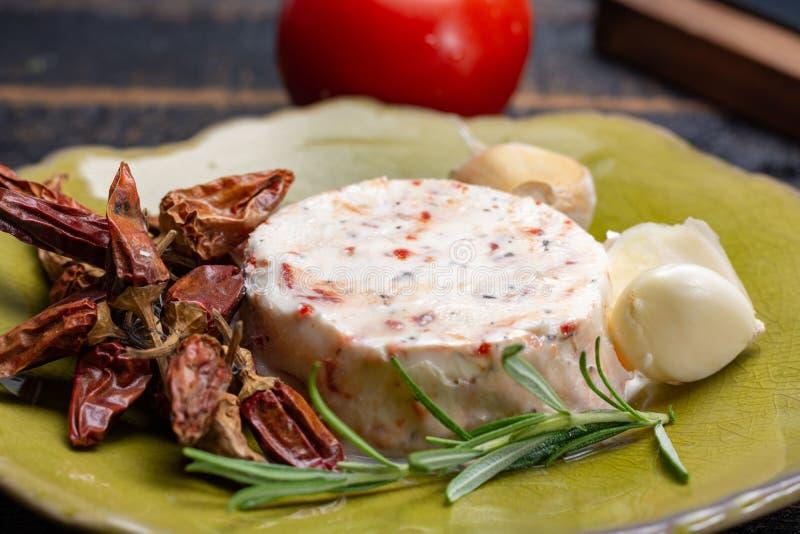 法国软干酪,另外口味山羊牛奶natura品种  免版税库存图片