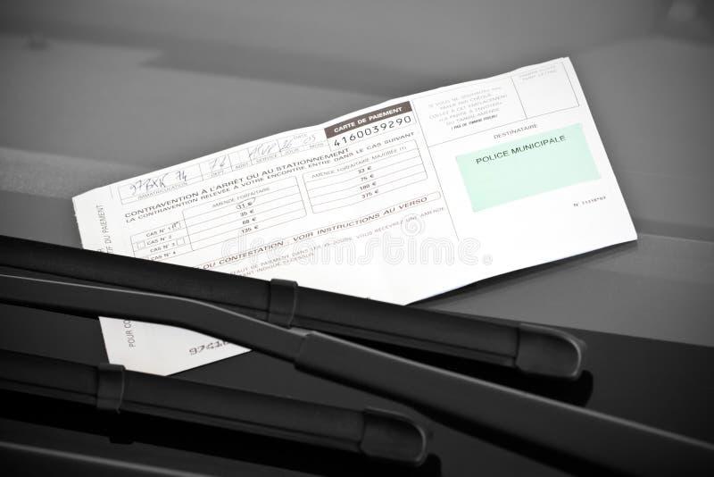 法国违规停车罚单 库存图片