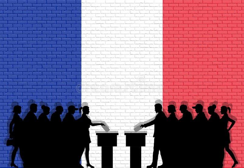 法国选民拥挤在竞选的剪影与法国在砖墙前面的旗子街道画 向量例证