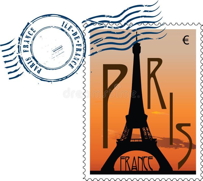 法国邮戳 向量例证