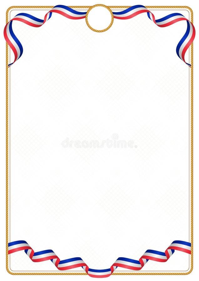 法国颜色旗子框架和边界  库存例证