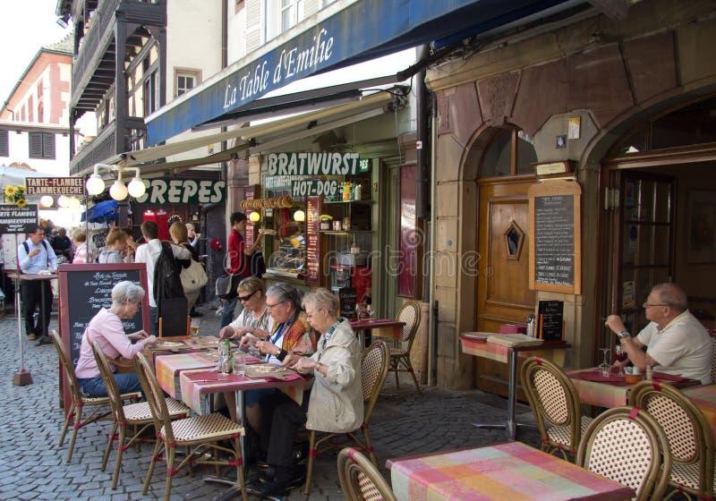 法国餐馆在史特拉斯堡 免版税库存照片