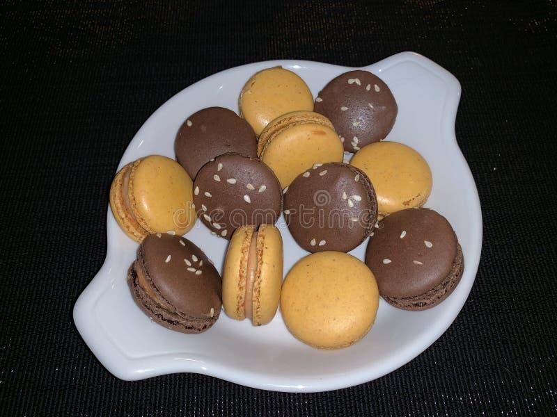 法国鹅肝蛋白杏仁饼干 库存照片