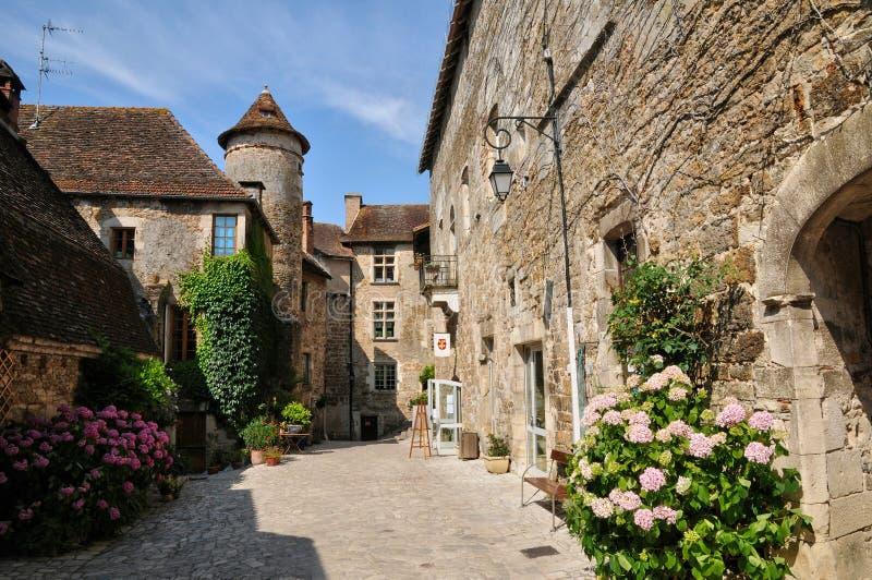 法国,卡雷纳克美丽如画的村庄全部的 免版税库存照片