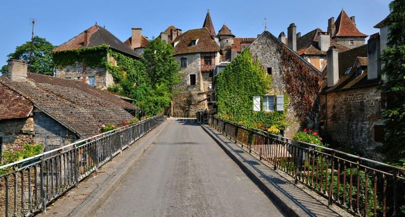 法国,卡雷纳克美丽如画的村庄全部的 免版税库存图片