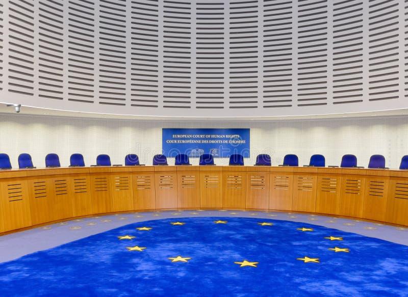 法国,史特拉斯堡- 2015年10月29日:修造的人权-礼堂 免版税图库摄影
